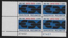 US Scott #1233, Plate Block #27462/27457 1963 Emancipation FVF MNH Lower Left
