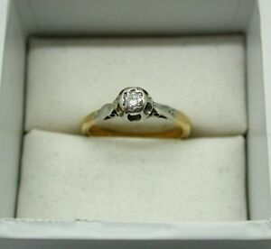 Vintage 18ct Gold And Platinum Diamond Solitaire Ring