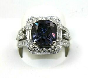 Cushion Purple Alexandrite & Diamond Solitaire Ring 14k White Gold 7.60Ct