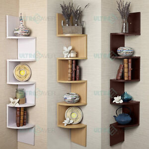 5 Tier Large Corner Wall Mount Shelf Zig Zag DVD CD Storage Home Display Decor