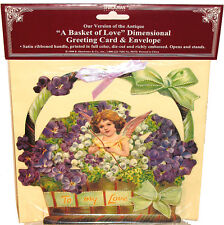 CUPID ANGEL IN LILAC BASKET 3D VALENTINE CARD Stand to Display MINT SHackman