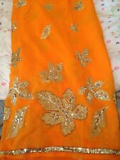 DESIGNER BOLLYWOOD INDIAN GEORGETTE GOLDEN EMBROIDERED ORANGE SAREE SARI NEW