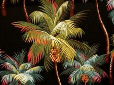 "22"" Tropical Barkcloth Fabric CHAIR SEAT/BACK SLIPCOVER /Zipper ~Palm Trees-Blk~"