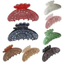 Women Elegant Rhinestone Large Hair Claw Fully-jewelled Jaw Clip Pin Solid Clip