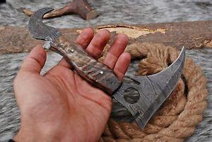 Custom Hand Forged Damascus Steel Hunting Karambit Fix blade knife + Sheath