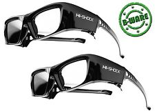 2x Hi-Shock BT PRO BLACK DIAMOND 3d Lunettes Pour Sharp Panasonic TV rechargeable