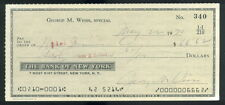 CK 110 George Weiss Check HOF Hall of Fame Autographed JSA Auto Cert