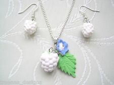 WHITE WINTER BERRIES SP Necklace & Earrings Set Xmas GIFT Berry Clay Blossom