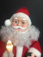 Vtg Santa Xmas Lighted Musical Figure Battery Op in Box. Big Blue Eyes