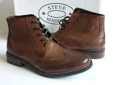 Steve Madden Men Size 9 Boots P-Evand Wingtip Brown Leather Lugs Outsole Profile
