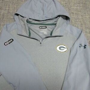 UNDER ARMOUR NFL COMBINE HOODED 1/4 ZIP GOLF PULLOVER--XL--GREEN BAY-TOP QUALITY