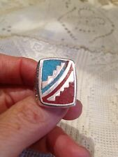 1980's Vintage Silver white Bronze 14.25 Men's Southwestern Gemstone Inlay Ring