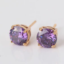 New Yellow Gold Filled Round 4 Prong Set 7mm Amethyst Purple CZ Stud Earrings
