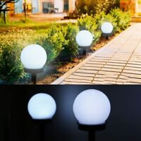 2xModern Large Outdoor Solar Powered White Globe Ball Garden Stake Post Lights Y