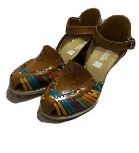 Authentic Mexican Women's Huarache Wedge Leather Sandal Shoes Handmade Size 7