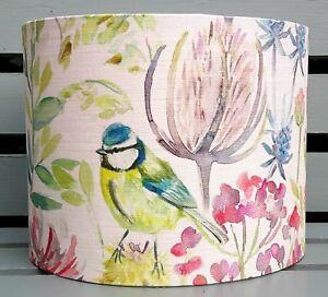 Voyage MORNING CHORUS country bird floral drum lampshade CREAM fabric 15 - 30cm