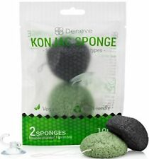 2Pcs Deneve Konjac Sponges Bamboo Charcoal / Green Tea