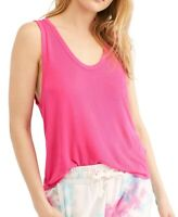Free People Womens Take The Plunge Tank Top Pink Large L Knit Scoop-Neck $38 355