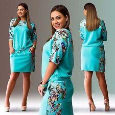 Womens Summer Boho Short Sleeve Floral Ladies Evening Party Dresses Plus Size