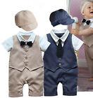 Baby Boy Kids Bodysuit Romper Playsuit Jumpsuit One Piece Jumper Hat Clothes Set