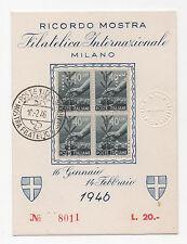 1946 ITALY REPUBBLICA DEMOCRATICA 40c.- 4INA RICORDO DELLA MOSTRA MILANO A/6937