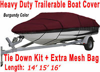 14' 15' 16' V-Hull Fish - Ski I/O Trailerable Boat Cover Burgundy Color B2236R