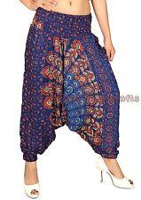Women's Rayon Blue Harem Pants Dance Yoga Gypsy Trouser Aladdin Alibaba Hippie