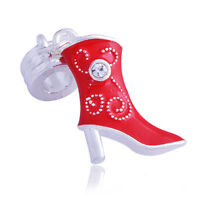 1pc W-GP Charms Womens European Fit Chain Bracelets Red Enamel Crystal Shoe