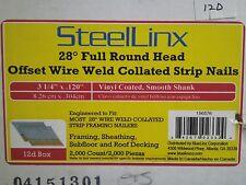"""2000! STEELLINX 3-1/4 In. X .120"""" 28° Full Round Head Smooth Wire Strip Nails DA"""