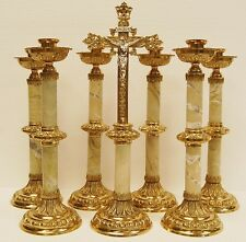 6 BRASS CANDLESTICKS AND ALTAR CROSS WITH MARBLE STEMS 107 (CHALICE, CHURCH CO.)
