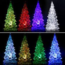LED Christmas Tree Acrylic Crystal Changing Desk Decor/Table Lamp Light HOT