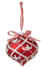 """6"""" Onion Glitter Patterned Ornament Red Glass Christmas Decor by RAZ Imports"""