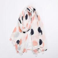 Girls Fashion Colorful Tassel Polka Dot Print  Fashion Scarf Soft Hijab LD