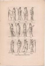 1882  LES DIEUX DE L'OLYMPE – DEI DELL'OLIMPO INCISIONE ORIGINALE STAMPA GRAVURE