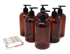 Amber Refillable Plastic Pump Bottles for Soap Shampoo and Lotion - 16 Oz 6 Pack