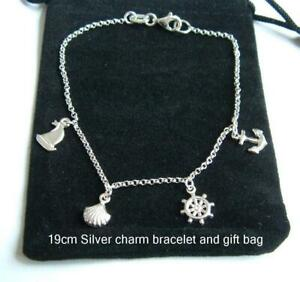 New 925 Sterling Silver bracelet nautical theme charms 19cm