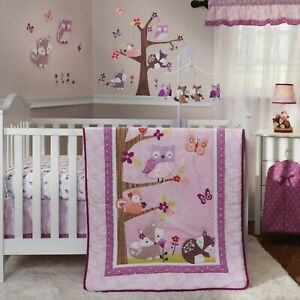 Bedtime Originals Lavender Woods 4-Piece Crib Bedding Set - Woodland Animals