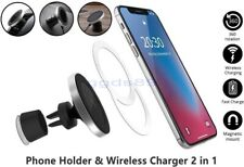 Qi Wireless Car Charger Magnetic Air Vent Mount Phone Holder iPhone Samsung etc