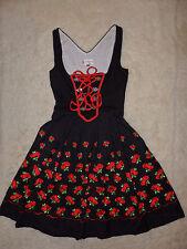STEINDL DIRNDL schwarz rot Rosen Blumen Stickerei Borten Schnürung 34