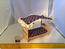 1/16 SCALE MINIATURE TOMY CANOPY BED WITH BEDDING DOLLHOUSE FURNITURE