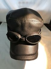 New Black Leather winter Aviator style Hat With Glasses size XL (7.5/8)us/61 eu