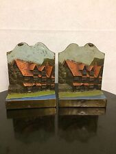 "Vintage Pompeian Bronze Pair Bookends, ""Shakespeare House""  Raised."