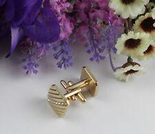 1 Set rhinestone Repp square gold plate cufflinks #22253 Free Shipping