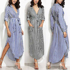 Womens Stripe Belted Deep V Neck Long Sleeve Top Blouse Long Maxi Loose Dress