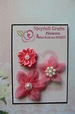 HANDMADE 3 Flower Mix PEACH PINK Organza Satin 35, 50 & 60mm NjoyfullCrafts