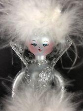 Vtg Sofieria De Carlini Blown Glass Lady Topper 13� Silver White Feathers Italy