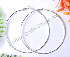 Wholesale 10Pcs Silver Gold Plated Metal Large Round Hoops Earrings Findings