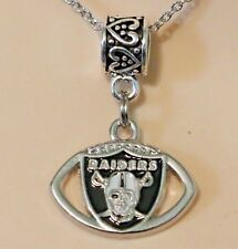 Oakland Raiders NFL Pendant Charm for European Charm Bracelet or Necklace