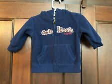 Baby Boy Oshkosh Navy Blue Zip Up Hoodie Sweat Shirt Jacket Size 6 Months