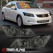 Fits 2008-2012 Honda Accord 4Dr [Chrome/Smoke] Crystal Corner Headlight Headlamp